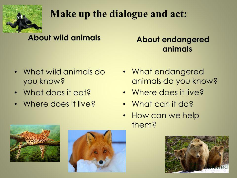 Make up the dialogue and act: About wild animals What wild animals do you know? What does it eat? Where does it live? About endangered animals What endangered animals do you know? Where does it live? What can it do? How can we help them?
