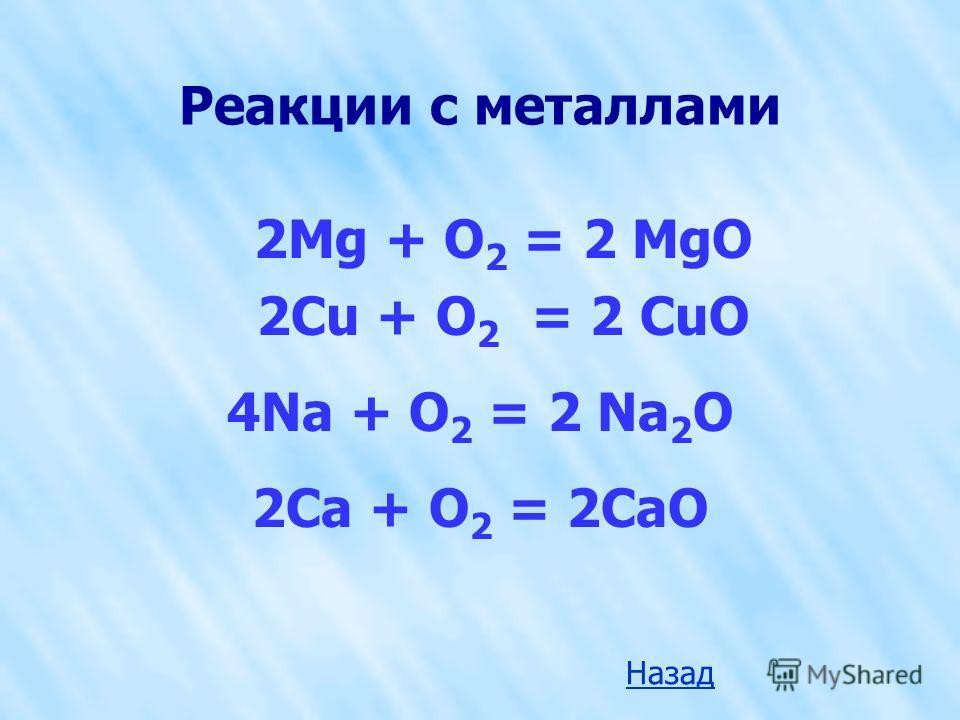 Реакции с металлами 2Mg + O 2 = 2 MgO 2Cu + O 2 = 2 CuO 4Na + O 2 = 2 Na 2 O 2Ca + O 2 = 2CaО Назад