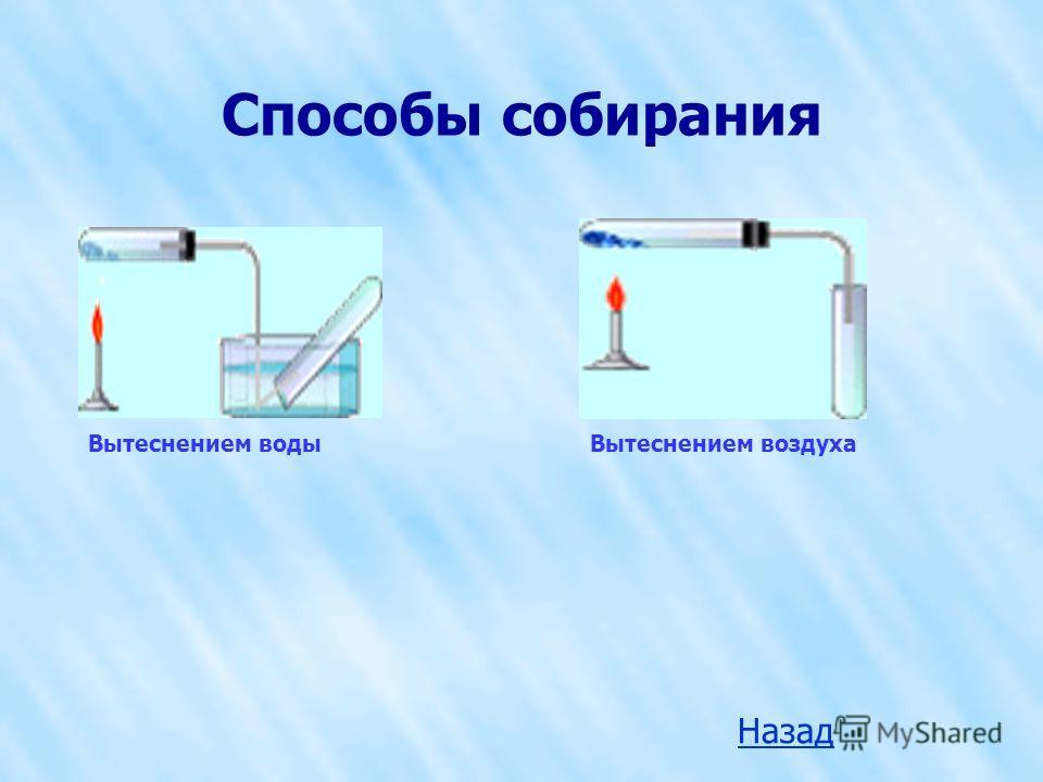 Способы собирания Вытеснением водыВытеснением воздуха Назад