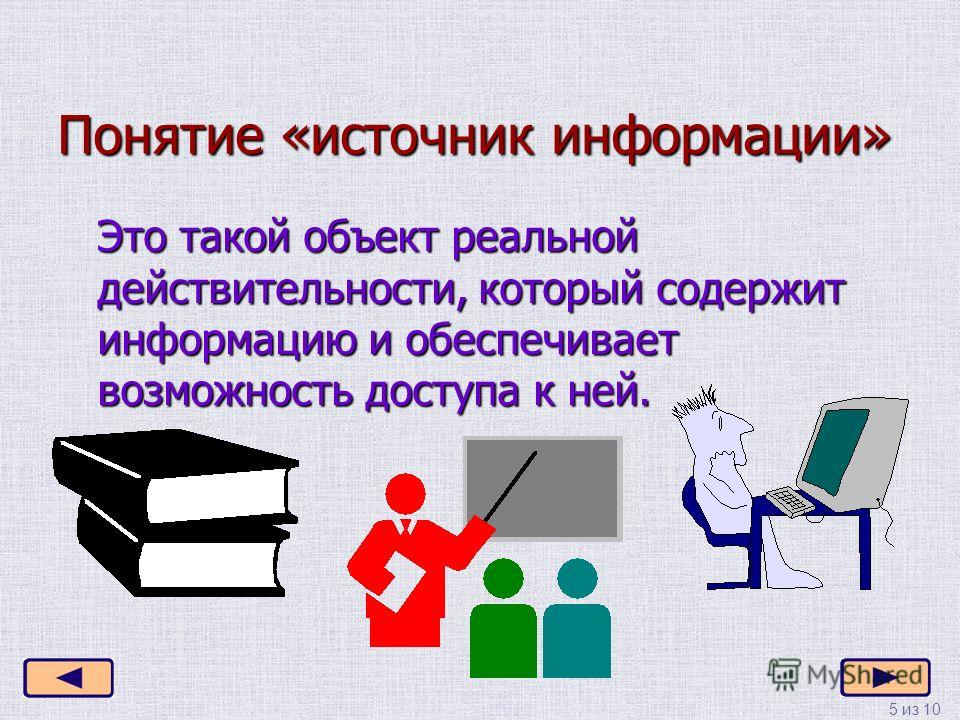 5 из 10 Понятие «источник информации» Это такой объект реальной действительности, который содержит информацию и обеспечивает возможность доступа к ней.