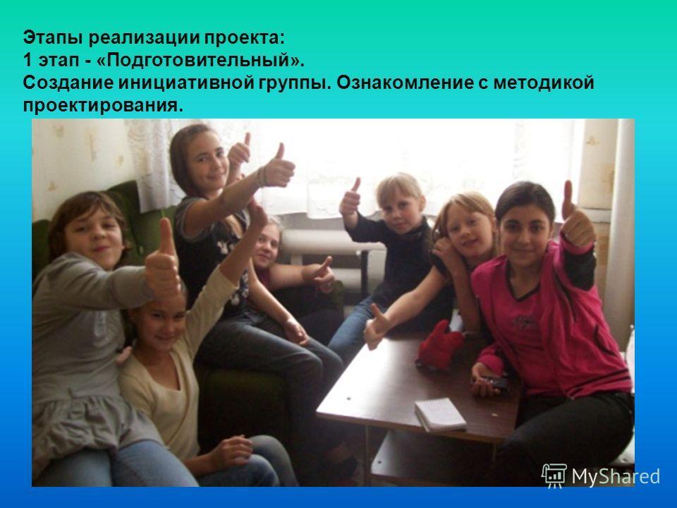 Этапы реализации проекта: 1 этап - «Подготовительный». Создание инициативной группы. Ознакомление с методикой проектирования.