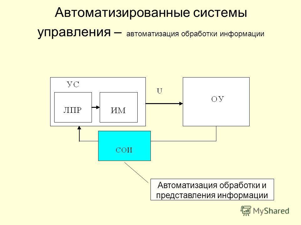 Автоматизированные системы управления – автоматизация обработки информации Автоматизация обработки и представления информации