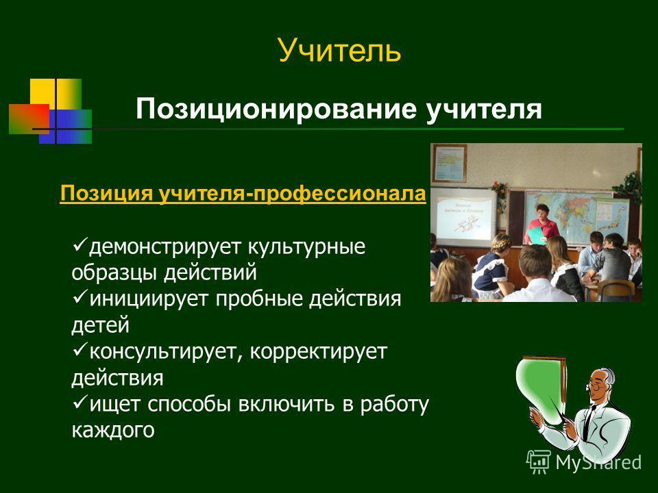Позиционирование учителя Позиция учителя-профессионала демонстрирует культурные образцы действий инициирует пробные действия детей консультирует, корректирует действия ищет способы включить в работу каждого ? Учитель