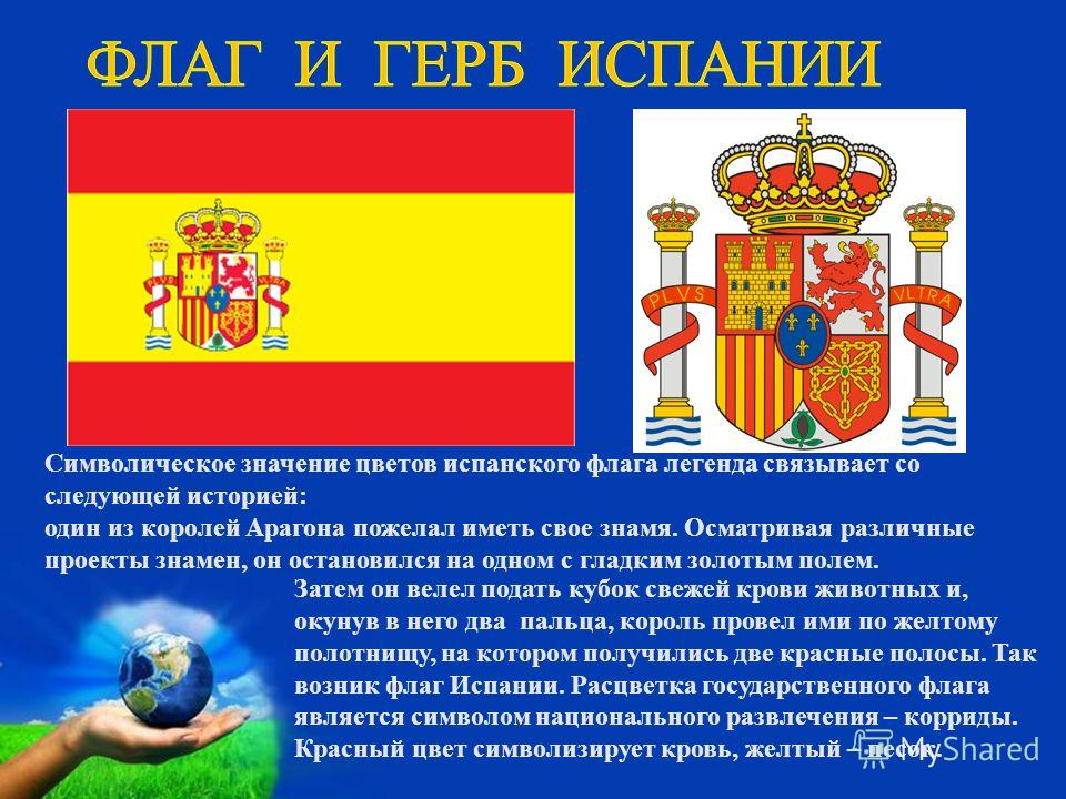 Затем он велел подать кубок свежей крови животных и, окунув в него два пальца, король провел ими по желтому полотнищу, на котором получились две красные полосы. Так возник флаг Испании. Расцветка государственного флага является символом национального