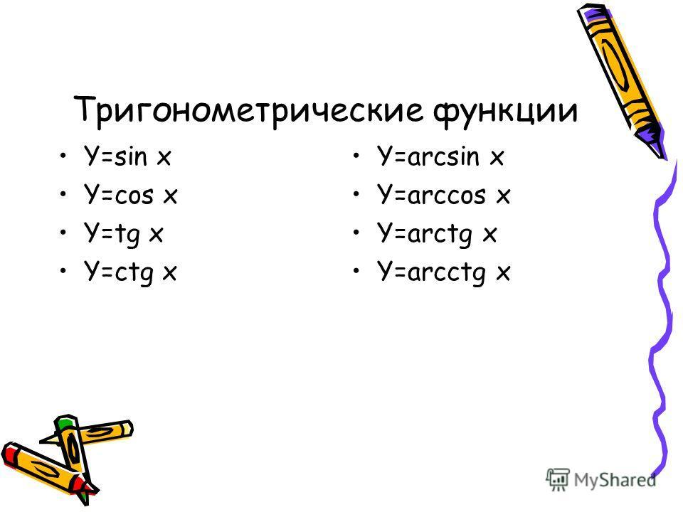 Y=sin x Y=cos x Y=tg x Y=ctg x Y=arcsin x Y=arccos x Y=arctg x Y=arcctg x