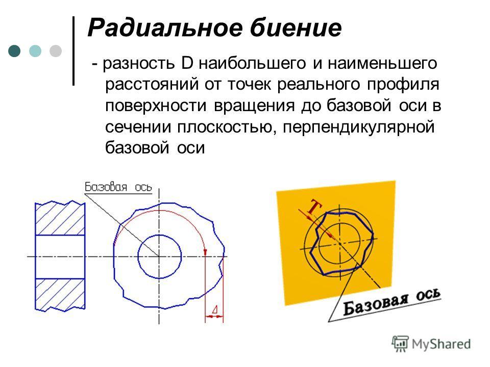 Радиальное биение - разность D наибольшего и наименьшего расстояний от точек реального профиля поверхности вращения до базовой оси в сечении плоскостью, перпендикулярной базовой оси