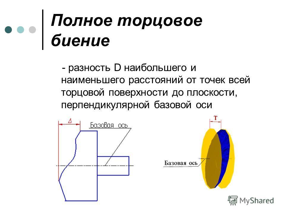 Полное торцовое биение - разность D наибольшего и наименьшего расстояний от точек всей торцовой поверхности до плоскости, перпендикулярной базовой оси