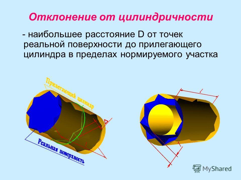 Отклонение от цилиндричности - наибольшее расстояние D от точек реальной поверхности до прилегающего цилиндра в пределах нормируемого участка