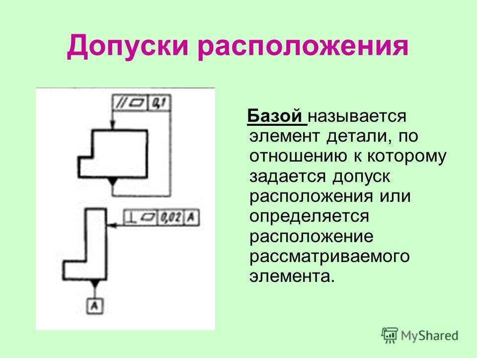 Допуски расположения Базой называется элемент детали, по отношению к которому задается допуск расположения или определяется расположение рассматриваемого элемента.