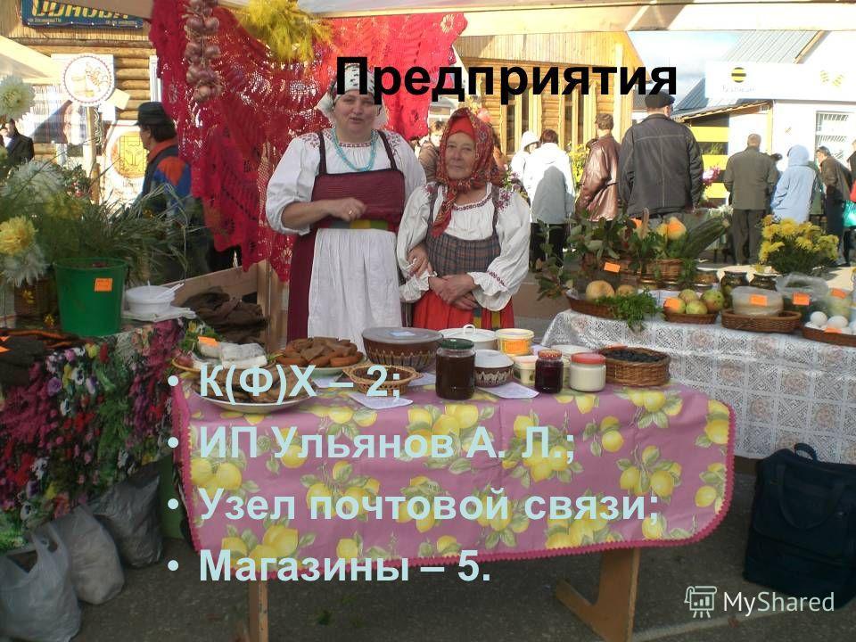 Предприятия К(Ф)Х – 2; ИП Ульянов А. Л.; Узел почтовой связи; Магазины – 5.