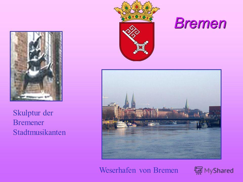 Bremen Bremen Skulptur der Bremener Stadtmusikanten Weserhafen von Bremen