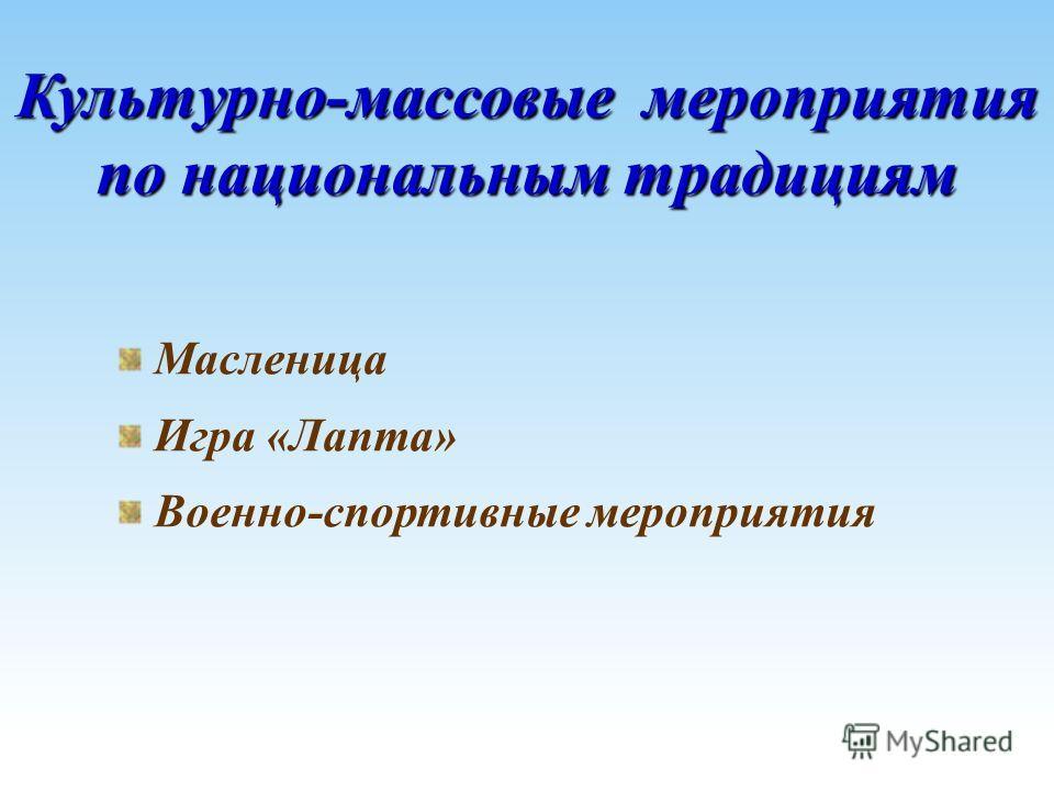 Культурно-массовые мероприятия по национальным традициям Масленица Игра «Лапта» Военно-спортивные мероприятия