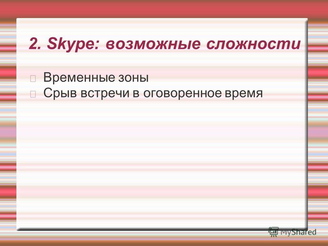 2. Skype: возможные сложности Временные зоны Срыв встречи в оговоренное время