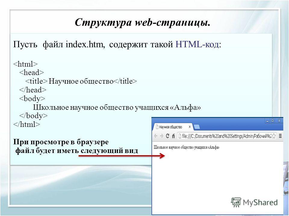 Структура web-страницы. Пусть файл index.htm, содержит такой HTML-код: Научное общество Школьное научное общество учащихся «Альфа» При просмотре в браузере файл будет иметь следующий вид
