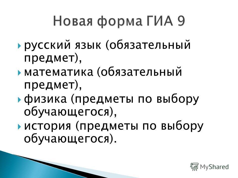 русский язык (обязательный предмет), математика (обязательный предмет), физика (предметы по выбору обучающегося), история (предметы по выбору обучающегося).