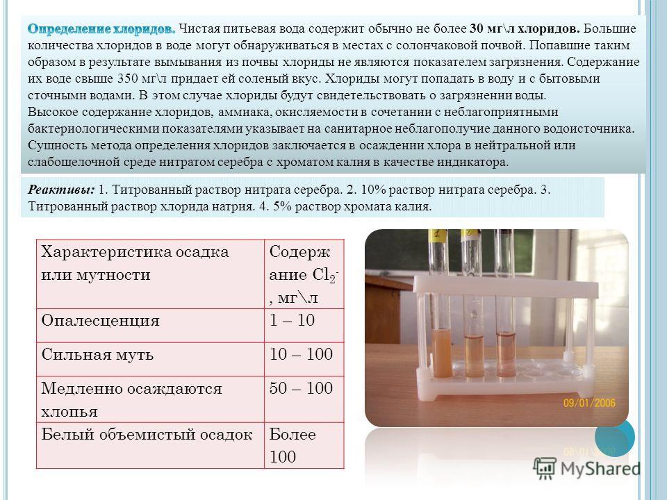 Реактивы: 1. Титрованный раствор нитрата серебра. 2. 10% раствор нитрата серебра. 3. Титрованный раствор хлорида натрия. 4. 5% раствор хромата калия. Характеристика осадка или мутности Содерж ание Cl 2 -, мг\л Опалесценция1 – 10 Сильная муть10 – 100