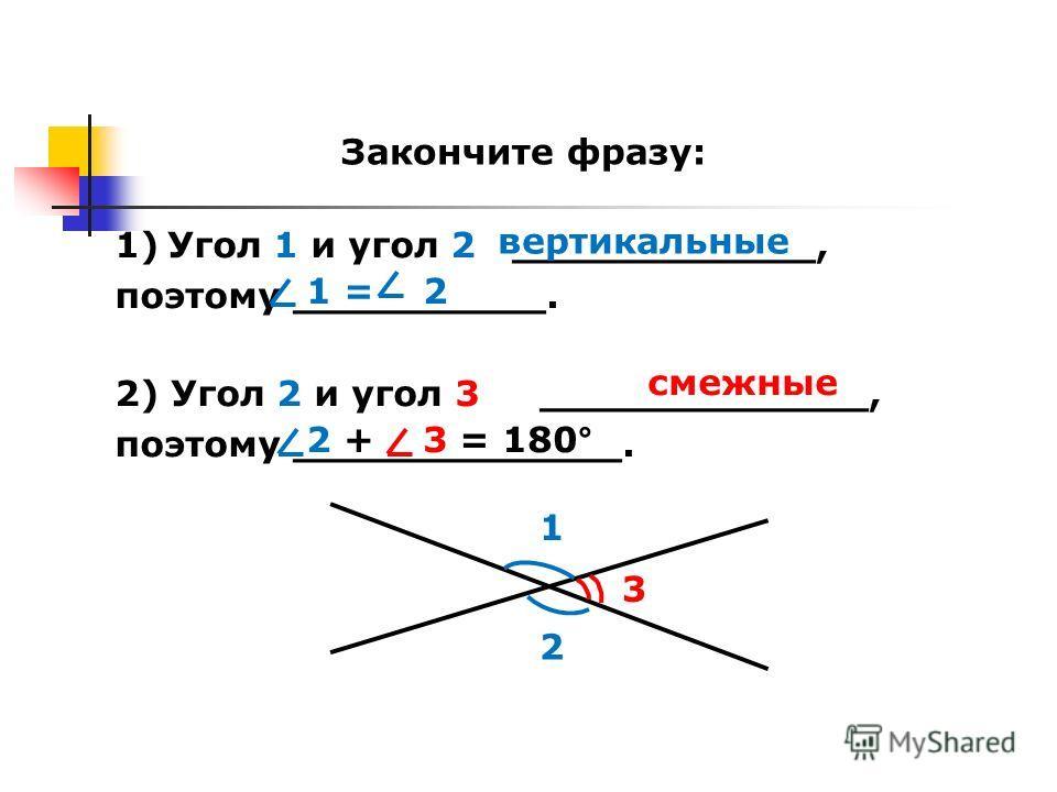 Закончите фразу: 1 2 1)Угол 1 и угол 2 ____________, поэтому __________. 2) Угол 2 и угол 3 _____________, поэтому _____________. 3 вертикальные 1 = 2 смежные 2 + 3 = 180°