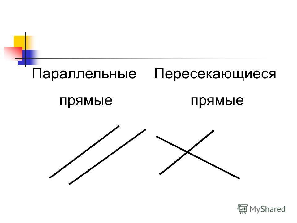 Параллельные прямые Пересекающиеся прямые