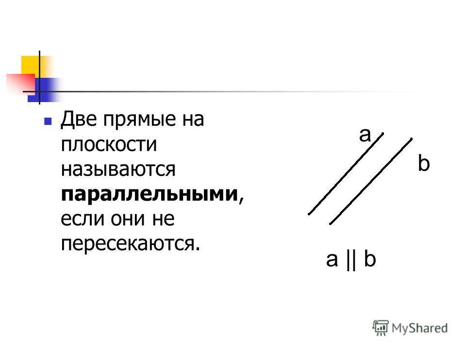 Две прямые на плоскости называются параллельными, если они не пересекаются. a b a || b