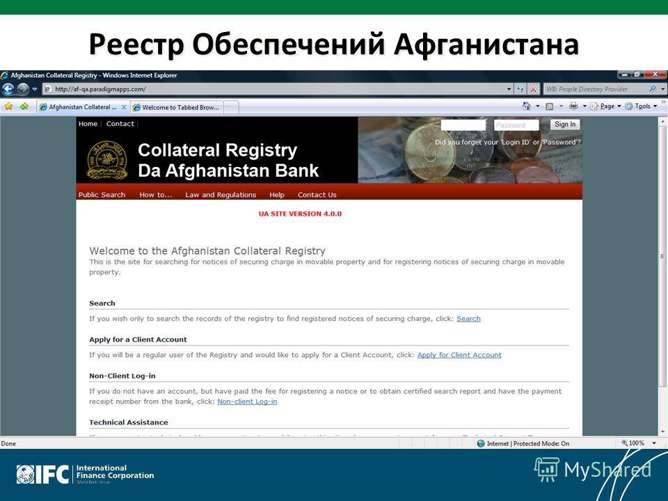 Реестр Обеспечений Афганистана