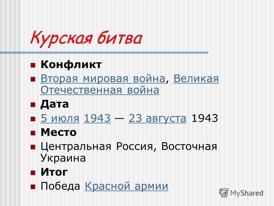Курская битва Конфликт Вторая мировая война, Великая Отечественная война Вторая мировая войнаВеликая Отечественная война Дата 5 июля 1943 23 августа 1943 5 июля194323 августа Место Центральная Россия, Восточная Украина Итог Победа Красной армииКрасно
