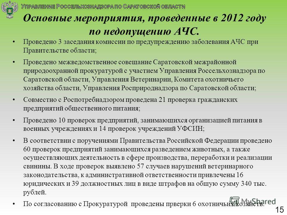 Основные мероприятия, проведенные в 2012 году по недопущению АЧС. Проведено 3 заседания комиссии по предупреждению заболевания АЧС при Правительстве области; Проведено межведомственное совещание Саратовской межрайонной природоохранной прокуратурой с