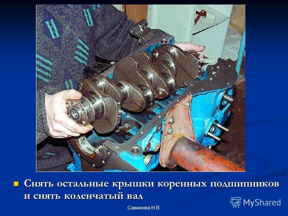 Снять остальные крышки коренных подшипников и снять коленчатый вал Савинова Н.В.