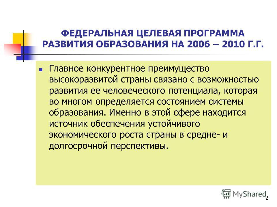 2 ФЕДЕРАЛЬНАЯ ЦЕЛЕВАЯ ПРОГРАММА РАЗВИТИЯ ОБРАЗОВАНИЯ НА 2006 – 2010 Г.Г. Главное конкурентное преимущество высокоразвитой страны связано с возможностью развития ее человеческого потенциала, которая во многом определяется состоянием системы образовани