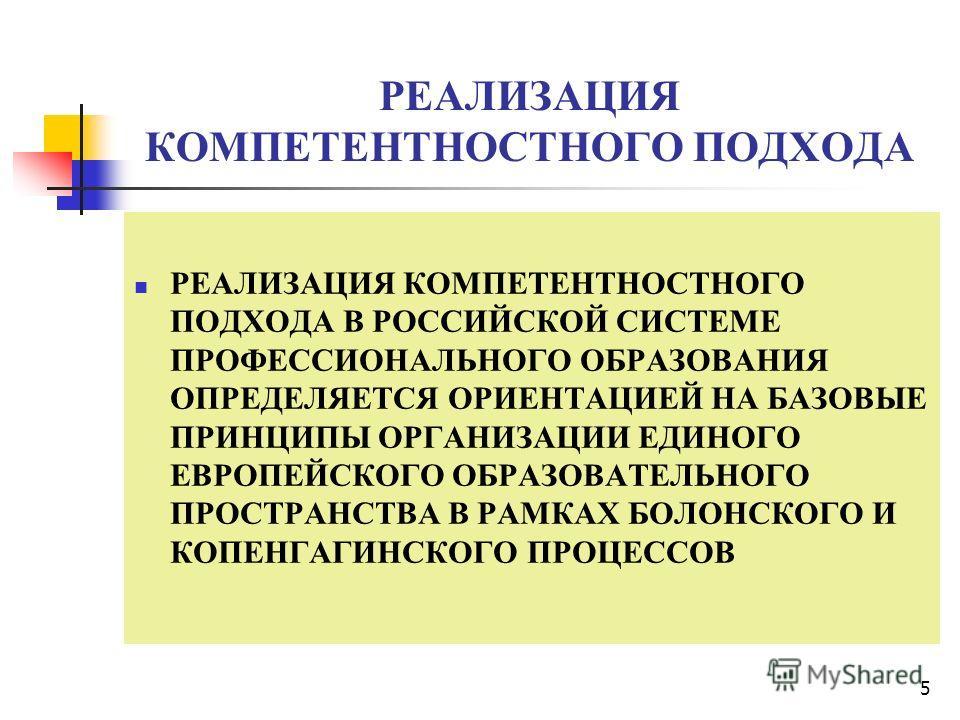 5 РЕАЛИЗАЦИЯ КОМПЕТЕНТНОСТНОГО ПОДХОДА РЕАЛИЗАЦИЯ КОМПЕТЕНТНОСТНОГО ПОДХОДА В РОССИЙСКОЙ СИСТЕМЕ ПРОФЕССИОНАЛЬНОГО ОБРАЗОВАНИЯ ОПРЕДЕЛЯЕТСЯ ОРИЕНТАЦИЕЙ НА БАЗОВЫЕ ПРИНЦИПЫ ОРГАНИЗАЦИИ ЕДИНОГО ЕВРОПЕЙСКОГО ОБРАЗОВАТЕЛЬНОГО ПРОСТРАНСТВА В РАМКАХ БОЛОНС