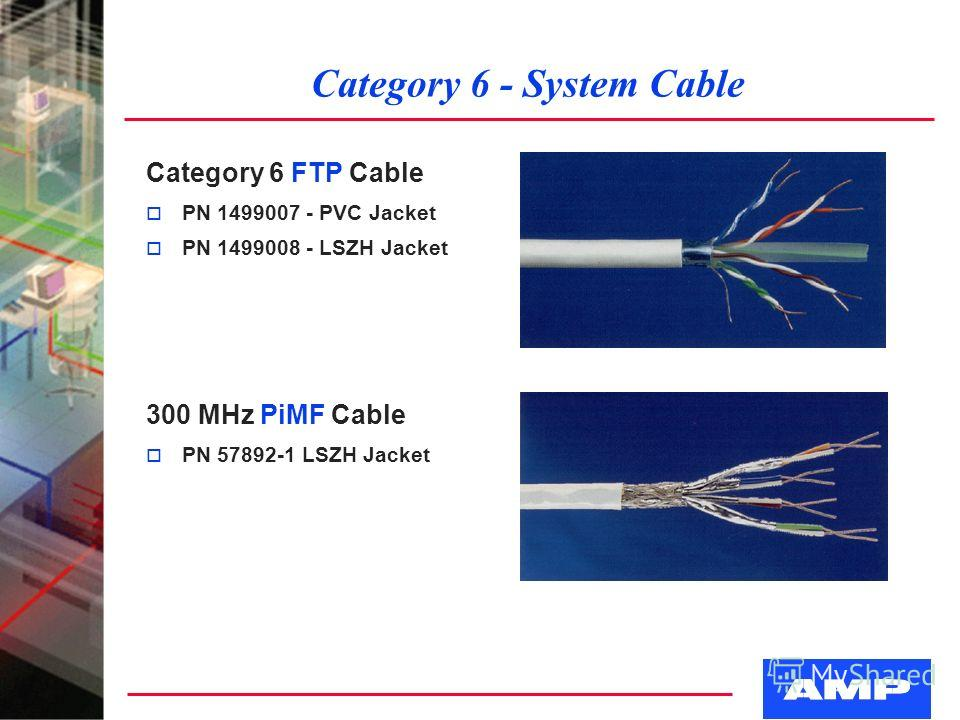 Category 6 - System Cable Category 6 FTP Cable o PN 1499007 - PVC Jacket o PN 1499008 - LSZH Jacket 300 MHz PiMF Cable o PN 57892-1 LSZH Jacket