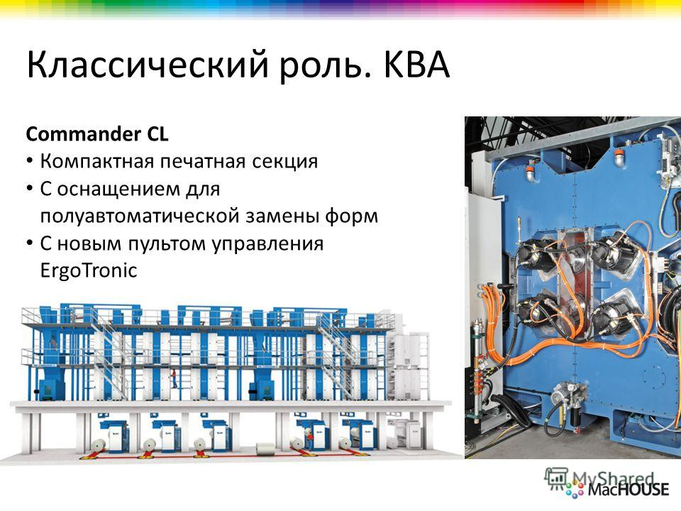 Классический роль. KBA Commander CL Компактная печатная секция С оснащением для полуавтоматической замены форм С новым пультом управления ErgoTronic