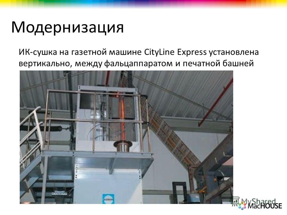 Модернизация ИК-сушка на газетной машине CityLine Express установлена вертикально, между фальцаппаратом и печатной башней