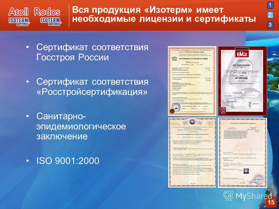 1 2 3 15 Вся продукция «Изотерм» имеет необходимые лицензии и сертификаты Сертификат соответствия Госстроя России Сертификат соответствия «Росстройсертификация» Санитарно- эпидемиологическое заключение ISO 9001:2000 2