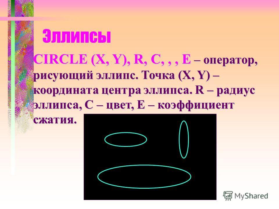 Эллипсы CIRCLE (X, Y), R, C,,, E – оператор, рисующий эллипс. Точка (X, Y) – координата центра эллипса. R – радиус эллипса, С – цвет, Е – коэффициент сжатия.