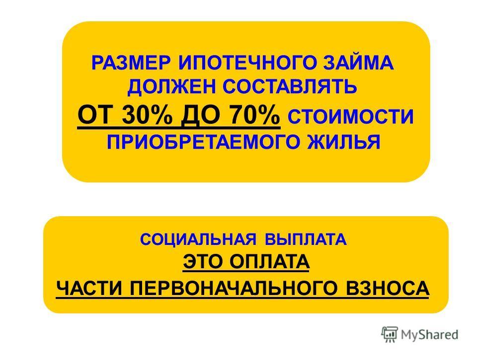 РАЗМЕР ИПОТЕЧНОГО ЗАЙМА ДОЛЖЕН СОСТАВЛЯТЬ ОТ 30% ДО 70% СТОИМОСТИ ПРИОБРЕТАЕМОГО ЖИЛЬЯ СОЦИАЛЬНАЯ ВЫПЛАТА ЭТО ОПЛАТА ЧАСТИ ПЕРВОНАЧАЛЬНОГО ВЗНОСА