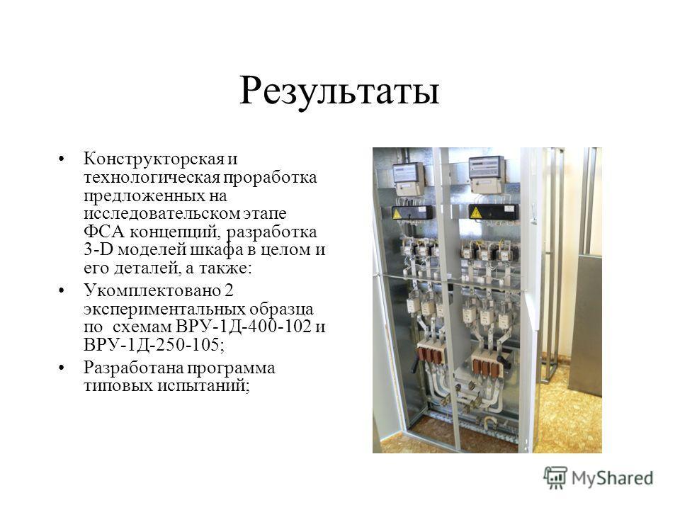 Результаты Конструкторская и технологическая проработка предложенных на исследовательском этапе ФСА концепций, разработка 3-D моделей шкафа в целом и его деталей, а также: Укомплектовано 2 экспериментальных образца по схемам ВРУ-1Д-400-102 и ВРУ-1Д-2