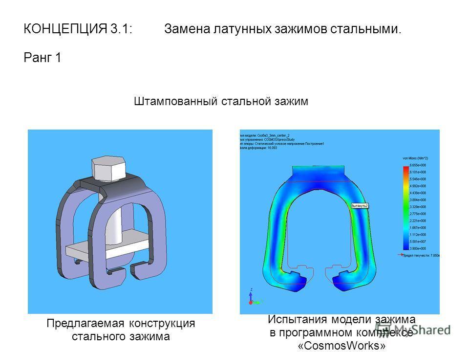 КОНЦЕПЦИЯ 3.1: Замена латунных зажимов стальными. Ранг 1 Предлагаемая конструкция стального зажима Испытания модели зажима в программном комплексе «CosmosWorks» Штампованный стальной зажим