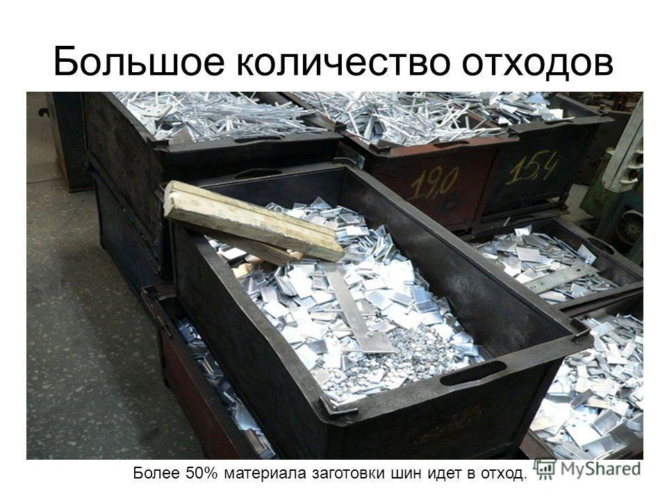 Большое количество отходов Более 50% материала заготовки шин идет в отход.
