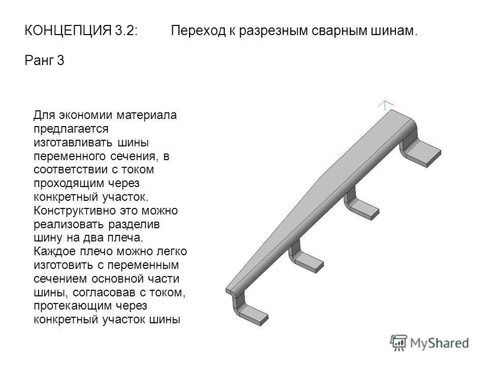 КОНЦЕПЦИЯ 3.2: Переход к разрезным сварным шинам. Ранг 3 Для экономии материала предлагается изготавливать шины переменного сечения, в соответствии с током проходящим через конкретный участок. Конструктивно это можно реализовать разделив шину на два