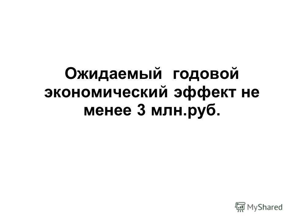 Ожидаемый годовой экономический эффект не менее 3 млн.руб.