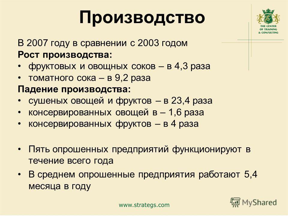 4 Производство В 2007 году в сравнении с 2003 годом Рост производства: фруктовых и овощных соков – в 4,3 раза томатного сока – в 9,2 раза Падение производства: сушеных овощей и фруктов – в 23,4 раза консервированных овощей в – 1,6 раза консервированн