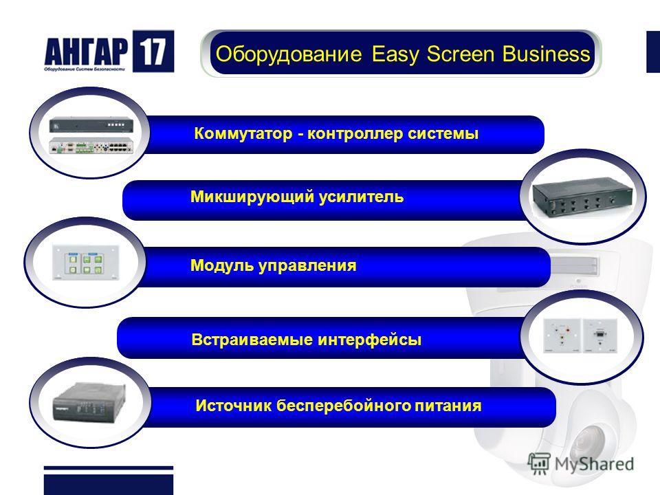 Оборудование Easy Screen Business Коммутатор - контроллер системы Микширующий усилитель Модуль управления Встраиваемые интерфейсы Источник бесперебойного питания