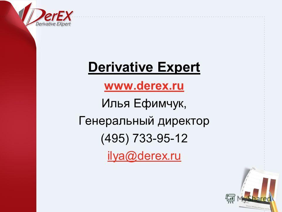 Derivative Expert www.derex.ru Илья Ефимчук, Генеральный директор (495) 733-95-12 ilya@derex.ru