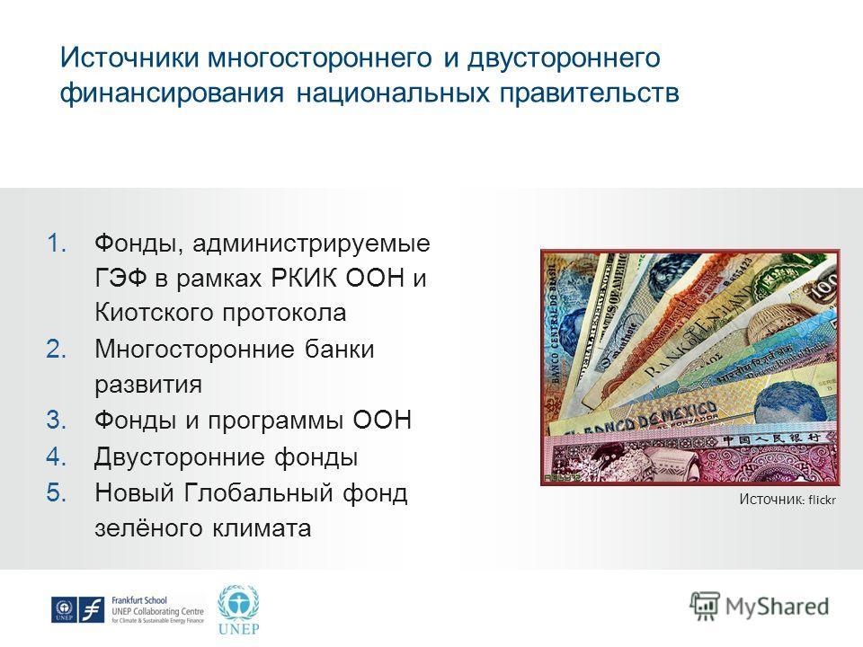Источники многостороннего и двустороннего финансирования национальных правительств 1. Фонды, администрируемые ГЭФ в рамках РКИК ООН и Киотского протокола 2. Многосторонние банки развития 3. Фонды и программы ООН 4. Двусторонние фонды 5. Новый Глобаль