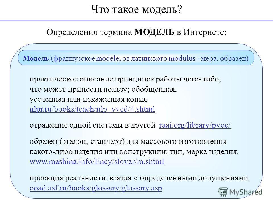 Определения термина МОДЕЛЬ в Интернете: практическое описание принципов работы чего-либо, что может принести пользу; обобщенная, усеченная или искаженная копия nlpr.ru/books/teach/nlp_vved/4.shtml отражение одной системы в другой raai.org/library/pvo