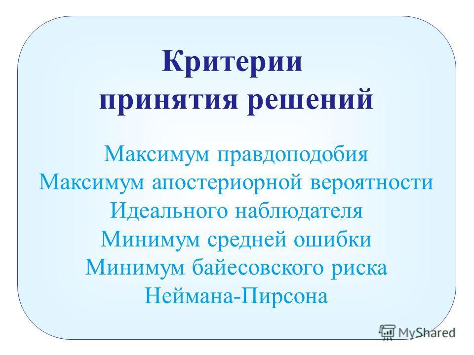 Критерии принятия решений Максимум правдоподобия Максимум апостериорной вероятности Идеального наблюдателя Минимум средней ошибки Минимум байесовского риска Неймана-Пирсона