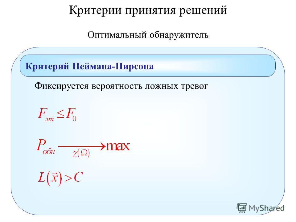 Оптимальный обнаружитель Критерий Неймана-Пирсона Критерии принятия решений Фиксируется вероятность ложных тревог