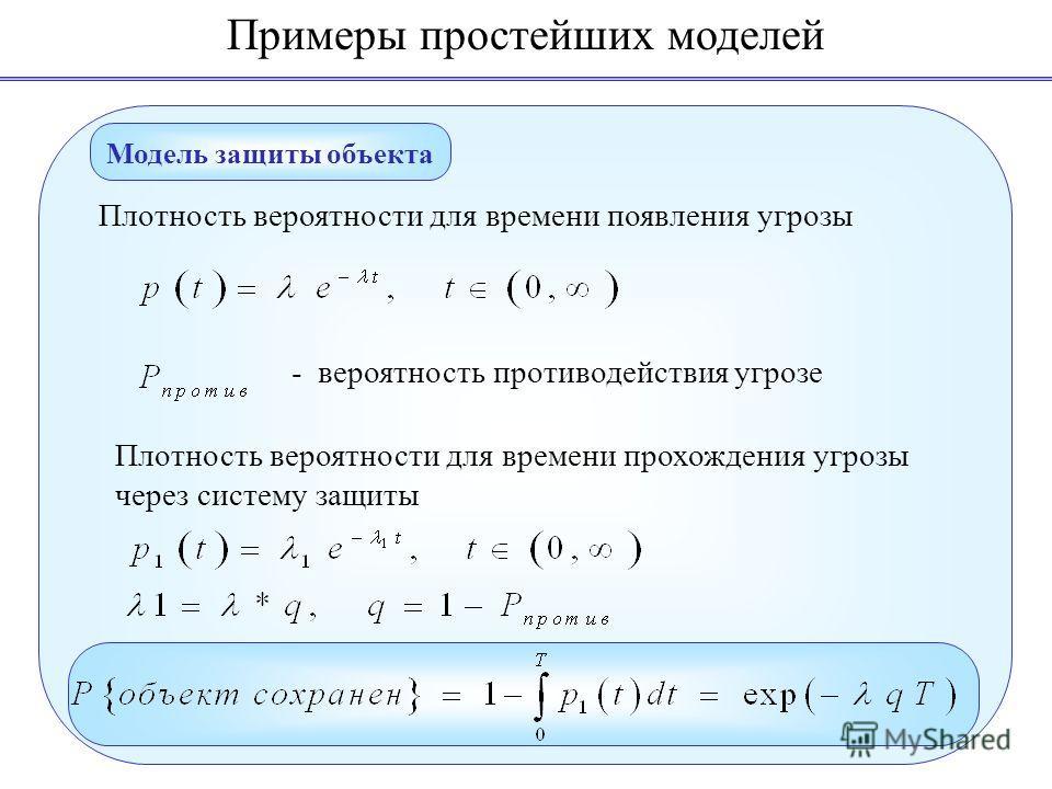 Примеры простейших моделей Модель защиты объекта Плотность вероятности для времени появления угрозы Плотность вероятности для времени прохождения угрозы через систему защиты - вероятность противодействия угрозе
