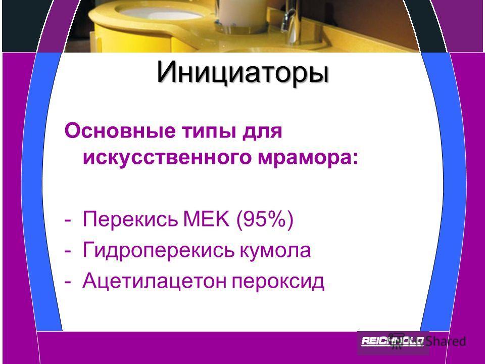 Инициаторы Основные типы для искусственного мрамора: -Перекись MEK (95%) -Гидроперекись кумола -Ацетилацетон пероксид