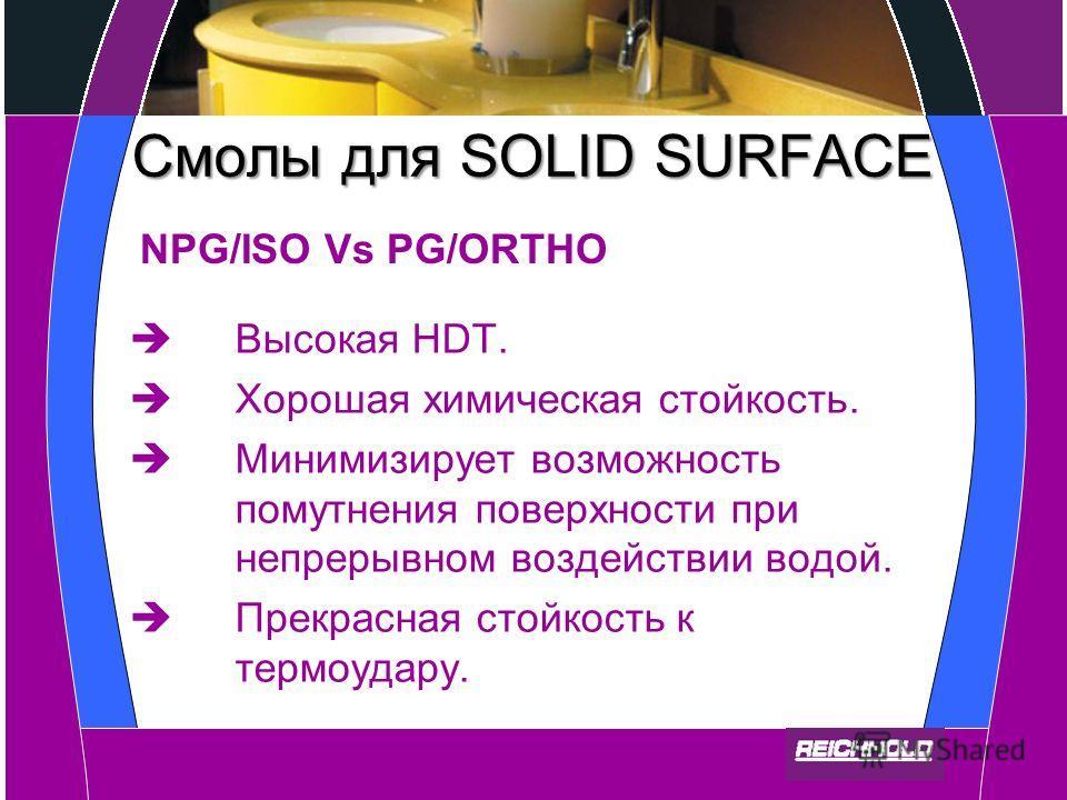 Смолы для SOLID SURFACE Высокая HDT. Хорошая химическая стойкость. Минимизирует возможность помутнения поверхности при непрерывном воздействии водой. Прекрасная стойкость к термоудару. NPG/ISO Vs PG/ORTHO
